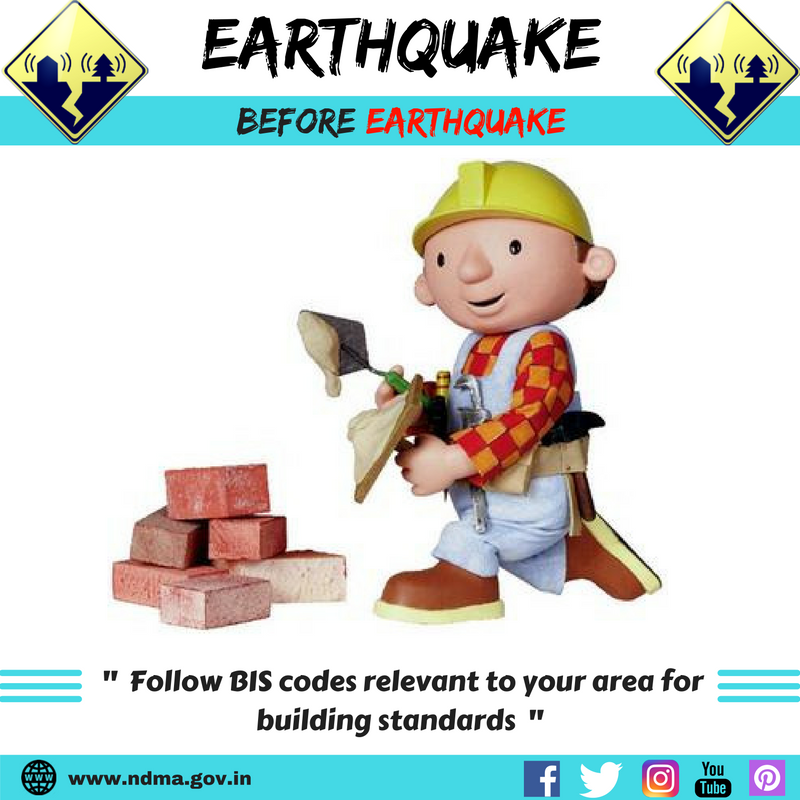Follow BIS codes relevant to your area for building standards.